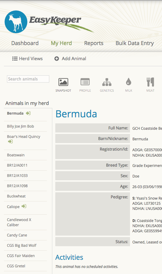 Herd list gives you an at-a-glance view of the animals you own that are currently out of your herd, and what animals in your herd belong to others.